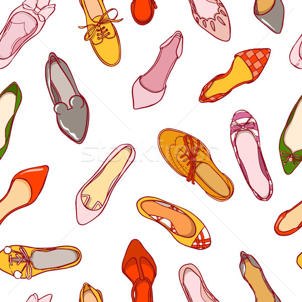 Stock photo: Seamless pattern of woman shoes. Vector colorful background of footwear collection.