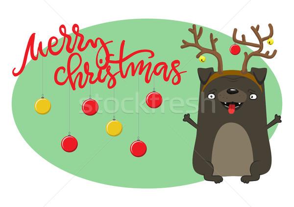 Boldog karácsony kutya szimbólum év aranyos Stock fotó © vasilixa