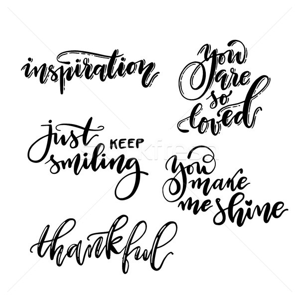 Handwritten calligraphic lettering phrase set. Vector isolated ink inscriptions template. Stock photo © vasilixa