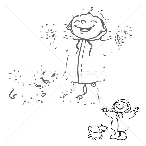 Link the dots. Numbers game for kids. Happy girl and dog in the rain. Coloring book page. Stock photo © vasilixa
