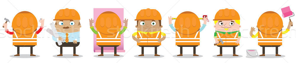 Colorful construction workers in hard hats working in various home remodeling and construction work  Stock photo © vasilixa