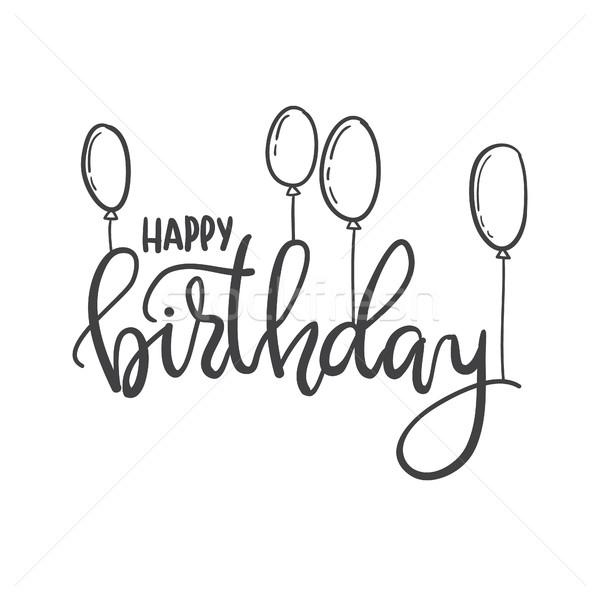 Feliz aniversário mão tipografia modelo pôsteres saudação Foto stock © vasilixa