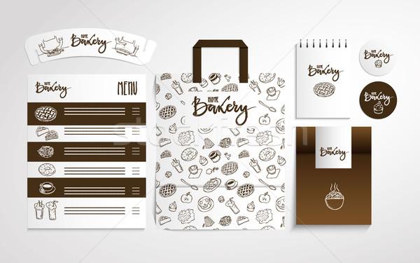 Home bakery identity design with food pattern Stock photo © vasilixa