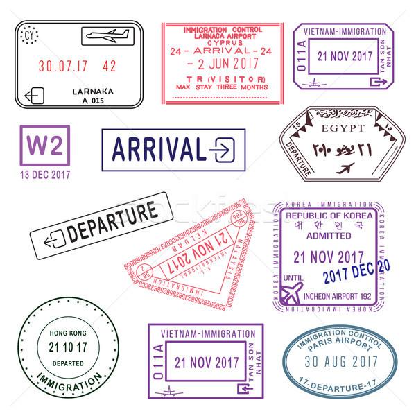 Groot ingesteld internationale reizen visum postzegels Stockfoto © vasilixa