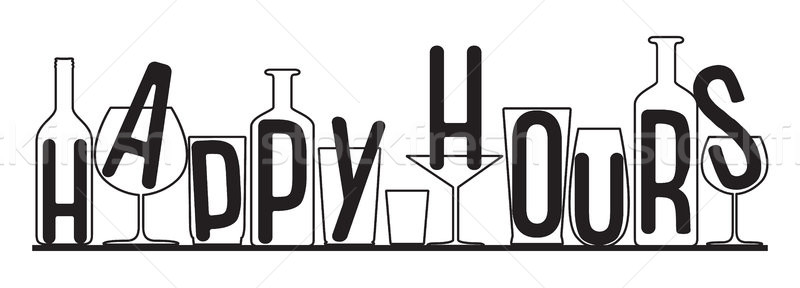Silhouettes of glasses and bottles happy hours time. Vector black and white composition. Stock photo © vasilixa