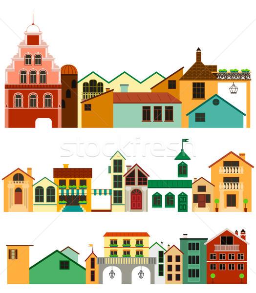 Cidade velha ruas ilustração vetor conjunto cityscape Foto stock © vasilixa