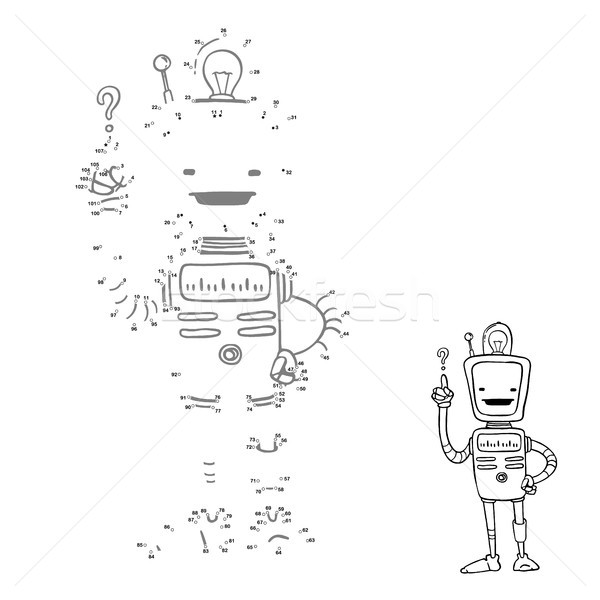 Connect points. Cartoon robot picture, vector character. Numbers game for children. Stock photo © vasilixa