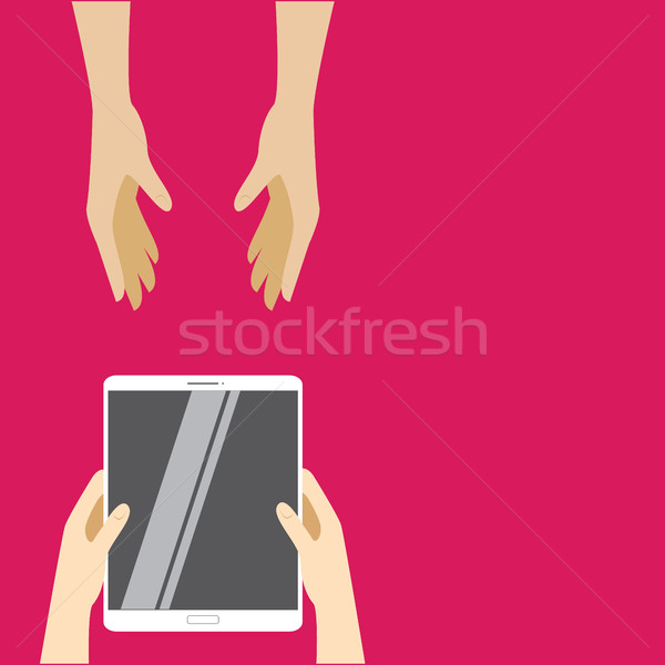 White tablet computer pass from hand to hand on a pink background. Vector illustration Stock photo © vasilixa