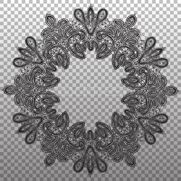 Black round napkin lace. Vector isolated ornament texture. Stock photo © vasilixa
