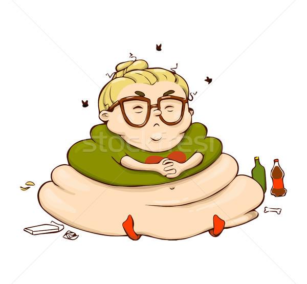 смешные ленивый Cartoon девушки вектора изолированный Сток-фото © vasilixa