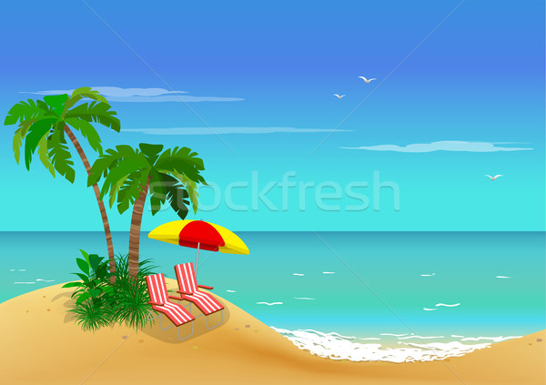 Sea view. Palm trees and sun loungers on sand coast.  Stock photo © vasilixa