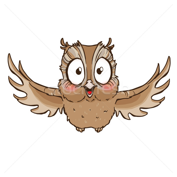 Surprised cute owl with outstretched wings Stock photo © vasilixa