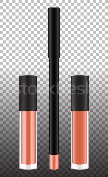 Liquid lipstick tubes and pencil isolated template. Vector realistic cosmetic products for marketing Stock photo © vasilixa
