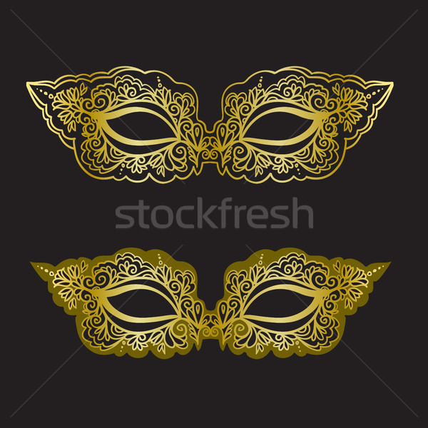 Golden carnival mask on the black background. Beautiful lace mask. Vector illustration Stock photo © vasilixa