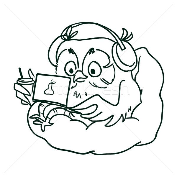 Coruja fones de ouvido laptop sessão saco de feijão cadeira Foto stock © vasilixa