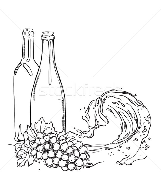 Sketch of wine bottles with grapes and liquid wave. Vector isolated illustration. Stock photo © vasilixa