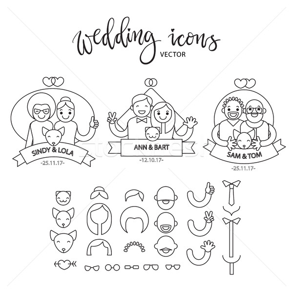 Wedding icon set. Build your own design. Cartoon vector  infographic illustration Stock photo © vasilixa