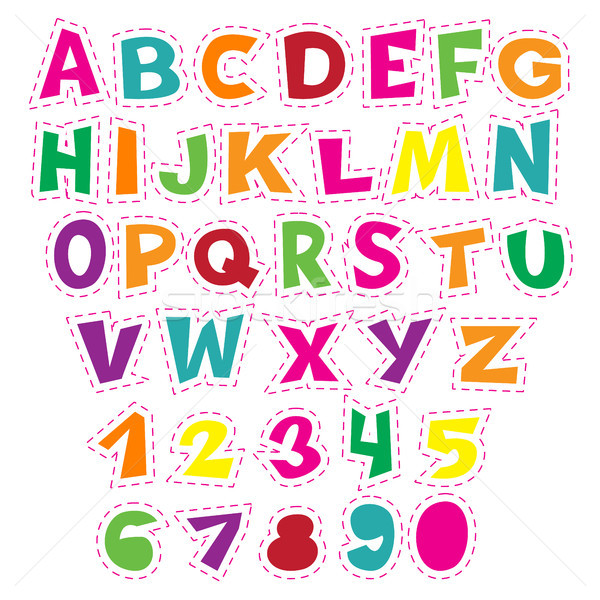 Colorido desenho animado alfabeto crianças vetor Foto stock © vasilixa