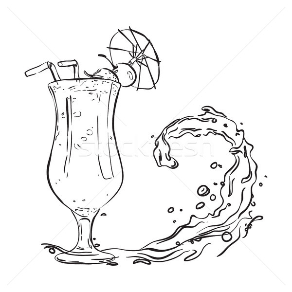 Handdrawn fruit cocktail in a tall glass with an umbrella. Stock photo © vasilixa