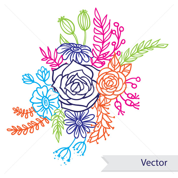 Beautiful bouquet of different colorful flowers on white background. Vector line art. Stock photo © vasilixa
