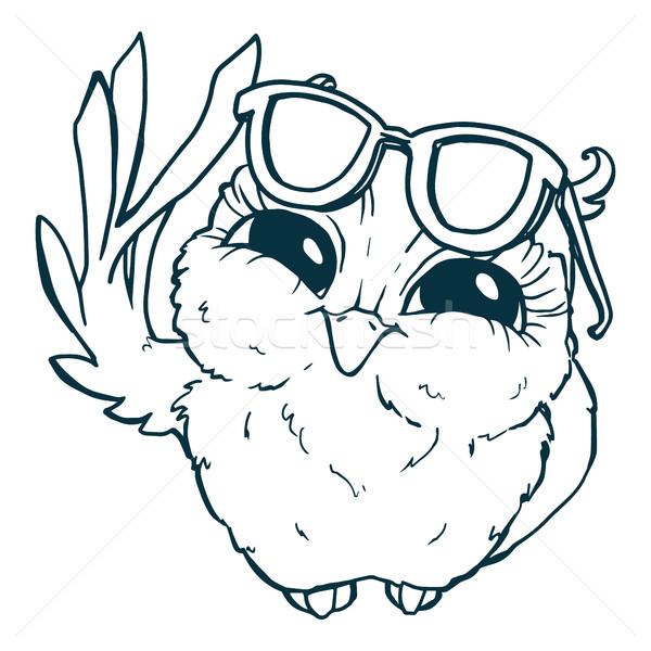 совы Солнцезащитные очки линия обратить белый Сток-фото © vasilixa