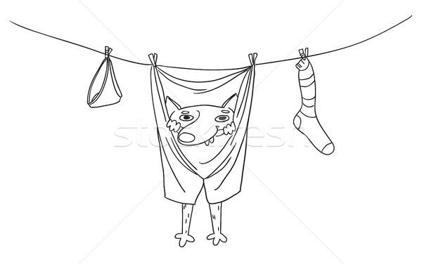 смешные собака подвесной брюки одежды веревку Сток-фото © vasilixa