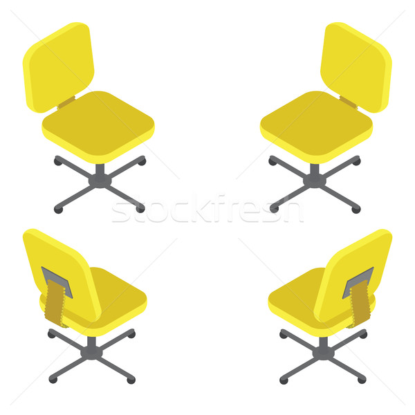 Set yellow office chair on white background. Flat 3d isometric vector illustration. For infographics Stock photo © vasilixa