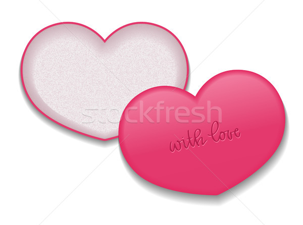 Heart shaped packaging for cosmetic products. Vector isolated template with inscription. Stock photo © vasilixa