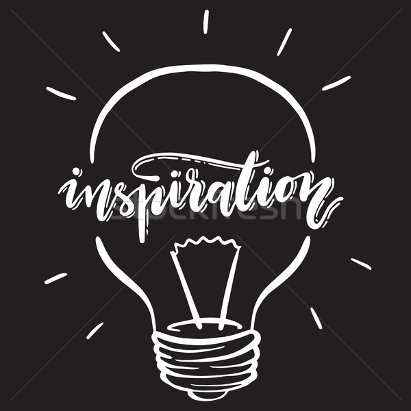 Inspiration illustration with handwritten typography. Vector lightbulb with lettering. Stock photo © vasilixa