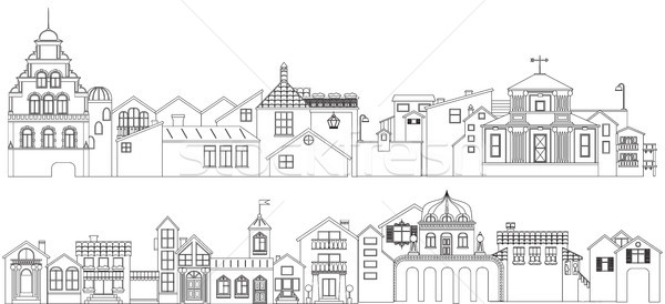 Outline set of old town streets buildings. Vector collection of contour townhouses. Stock photo © vasilixa