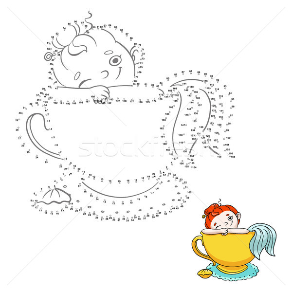 Numbers game for children. Connect the dots. Cute mermaid in a cup of tea illustration. Stock photo © vasilixa