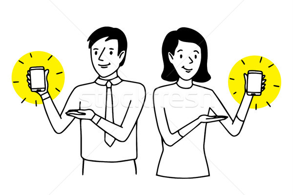 Man and woman presenting smartphones. Two people showing mobile phones. Lifestyle situation. Vector  Stock photo © vasilixa