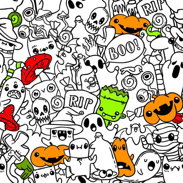 Хэллоуин рисованной болван шаблон вектора Сток-фото © vasilixa