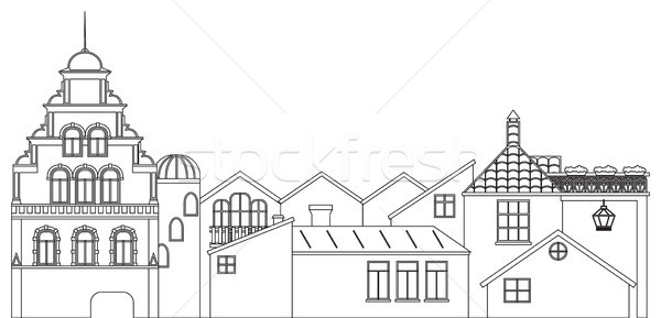 Outline panoramic view of houses. Vector contour of old town cityscape. Stock photo © vasilixa