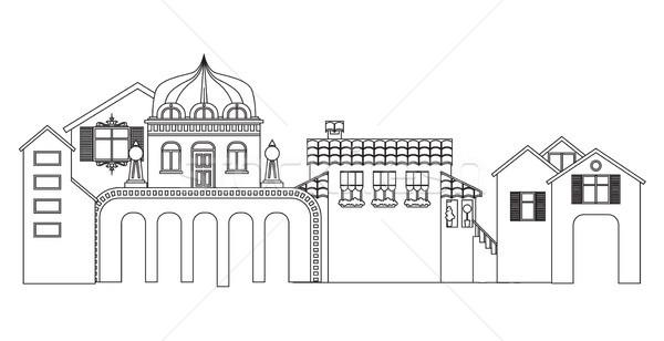 Contorno pequena cidade edifícios vetor cityscape silhueta Foto stock © vasilixa