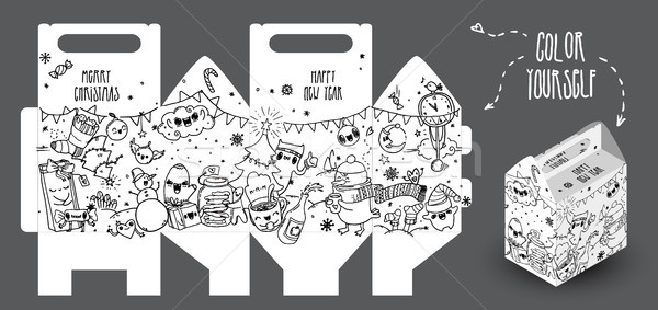 Hand-drawn new year gift box with funny doodles. It can be colored by you or your kids. Template can Stock photo © vasilixa