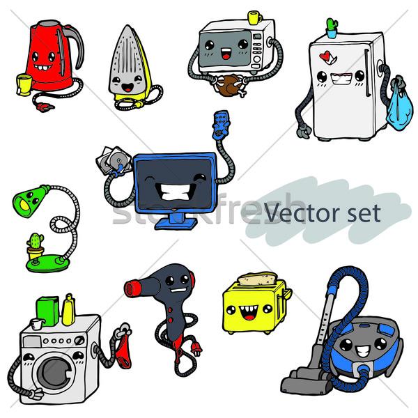Karikatür ev aletleri ayarlamak renk ev komik Stok fotoğraf © vasilixa