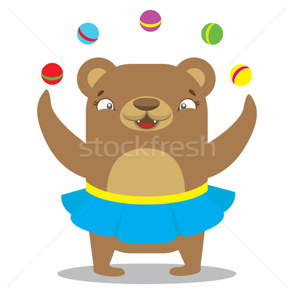 Circus bear in skirt juggling balls. Circus concept. Flat cartoo Stock photo © vasilixa