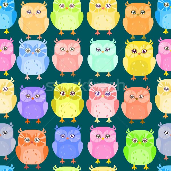 Cute little owl pattern Stock photo © vasilixa