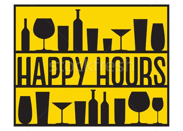 Happy hours vector black glasses and bottles on the shelves yellow background. Stock photo © vasilixa