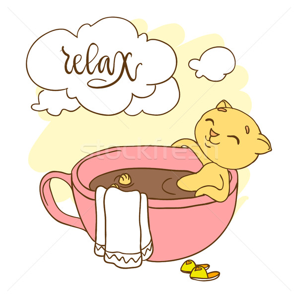 Cute kitten in big cup taking a bath. Inscription: relax Stock photo © vasilixa