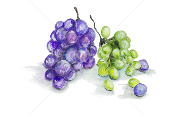Red and green grapes  fruits isolated Stock photo © vavlt