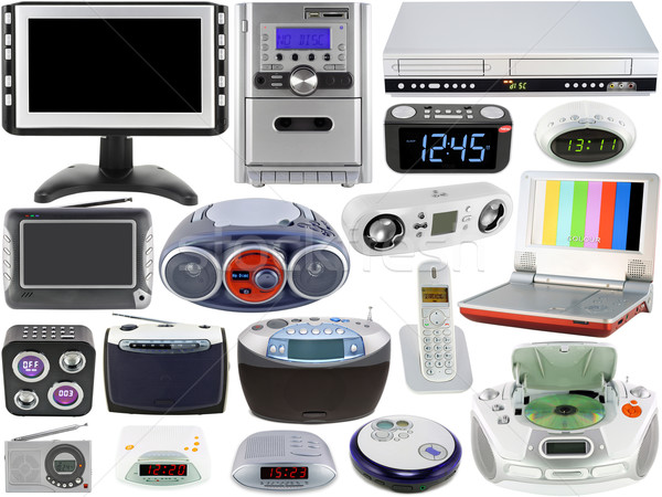 Set of home audio video electronic devices Stock photo © vavlt