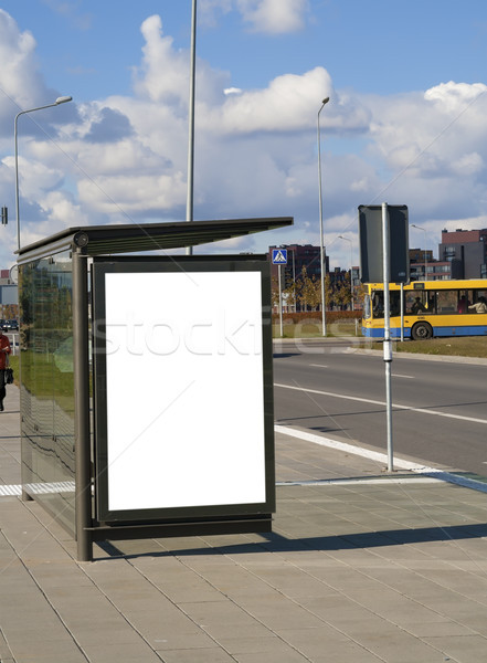 Bus stop on a high-speed  highway  near to a city Stock photo © vavlt