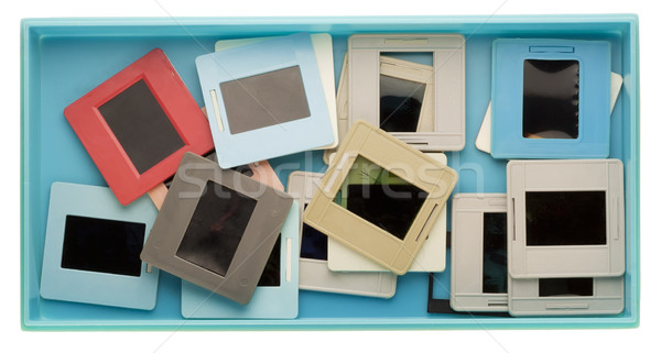 Box with old dusty slides Stock photo © vavlt