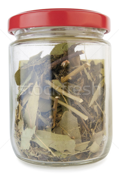 Small  dusty glass jar with spices Stock photo © vavlt