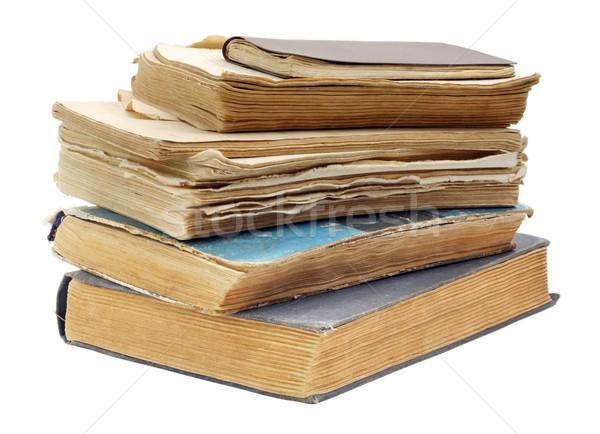 Oude haveloos boeken vuile geïsoleerd witte Stockfoto © vavlt