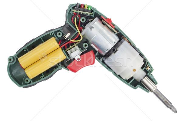 Dentro elétrico chave de fenda fios motor isolado Foto stock © vavlt