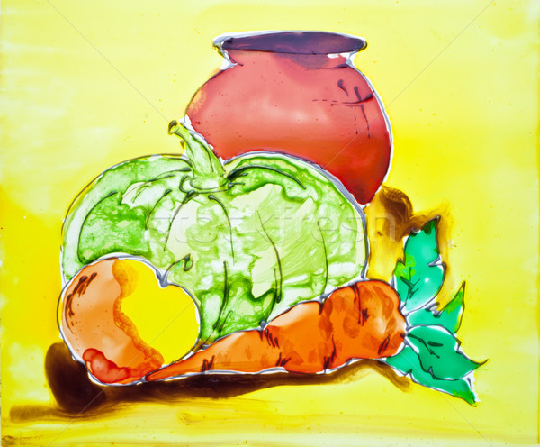 Carrots, pumpkin, apple and jug are drawn on glass by translucen Stock photo © vavlt