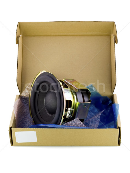 Karton csomagol elektronikus fölösleges alkatrészek igazi Stock fotó © vavlt